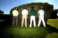 Men relieving themselves against bush