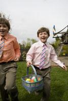 Boys on Easter egg hunt