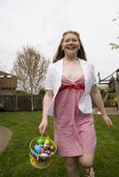 Girl on Easter egg hunt