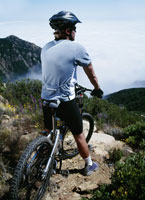 Cyclist on mountain