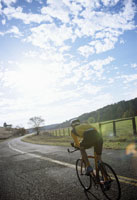 Cyclist on rural road
