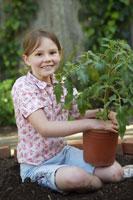 Girl planting tomato plant