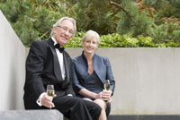 couple holding champagne