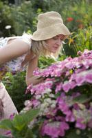 Woman smelling hydrangea flowers 11029013236| 写真素材・ストックフォト・画像・イラスト素材|アマナイメージズ