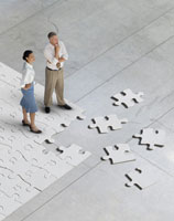 people standing on jigsaw puzzle