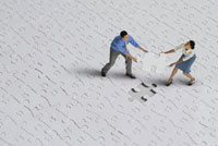 people fighting over puzzle piece