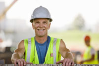 Male construction worker wearing