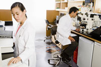 ethnic scientists working in laboratory