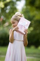 Girl holding gift