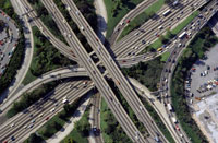 High angle view of highways