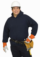 Male construction worker wearing hat