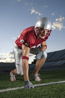 Football player in game stance
