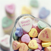 Bowl of candy hearts with words