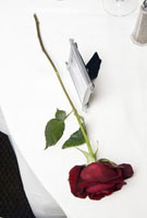 Rose and picture frame on table