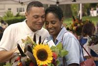 African couple enjoying outdoor market