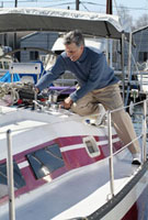 Man working on boat deck