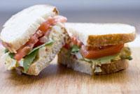 Close up of egg salad sandwich