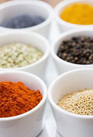 Close up of spices in bowls