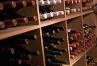 Wine bottles in storage bins