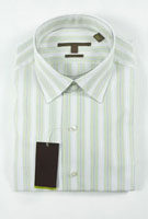 Striped men's dress shirt with tag