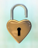 Close-up of Heart-Shaped Lock