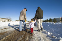 Family Walking Outdoors in Winter