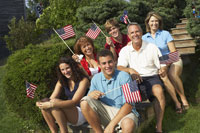 Family Celebrating the 4th of July