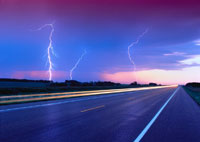 Lightning and Road