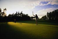 Golfer Putting on Green 11030008059| 写真素材・ストックフォト・画像・イラスト素材|アマナイメージズ