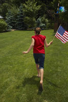 Portrait of Girl with American Flag 11030016277  写真素材・ストックフォト・画像・イラスト素材 アマナイメージズ