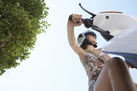 Young Woman on Moped