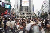 People Crossing at Shibuya Station
