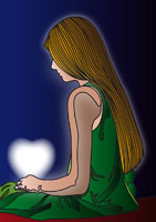 Illustration of Girl with Glowing Heart