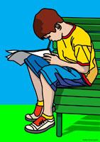 Illustration of Boy Reading
