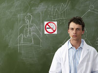 Scientist Smoking near No Smoking Sign