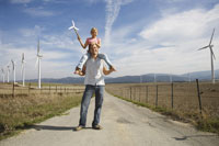Father and Daughter with Wind Turbines 11030020726| 写真素材・ストックフォト・画像・イラスト素材|アマナイメージズ