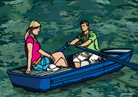Illustration of Couple in a Rowboat