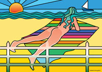 Illustration of Woman on the Beach Sunbathing Nude