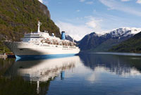 Cruise Ship Docked at Port,Fjord at Flam,Norway