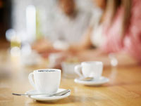 Cups of Coffee on Restaurant Table