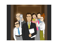 Illustration of Business People in Elevator