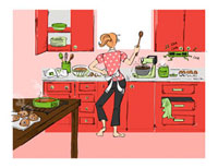 Illustration of Woman in the Kitchen Baking and Dancing