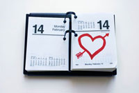 Calendar Showing Valentine's Day