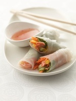 Spring Rolls with Salmon and Vegetables