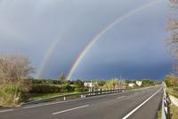 Double Rainbow over Road, Majorca, Spain