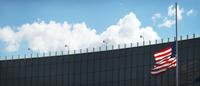 American Flag at Half-mast at USA-Canda Border Crossing, Nia