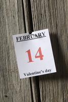 Calendar Page with February 14, Valentine's Day on it