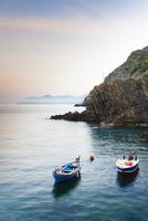 Fishing Boats in little Harbour of Riomaggiore at Dawn, Cinq