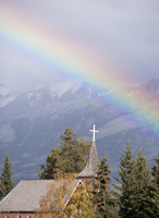 Rainbow over church, Jasper, Alberta, Canada