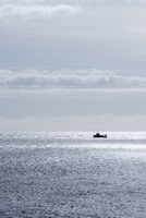 Silhouette of Fishing Boat on Ocean, Reykjanes, Iceland